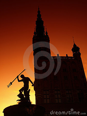 Neptune fountain and Town Hall in Gdansk