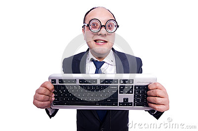 Nerd businessman with computer keyboard