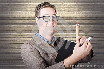 Nerd Businessman minuting massive business plan