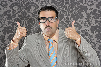 Nerd businessman ok positive hand gesture