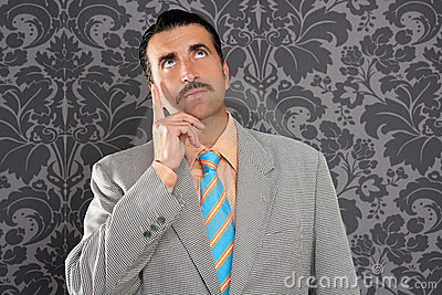 Nerd businessman pensive gesture silly funny retro