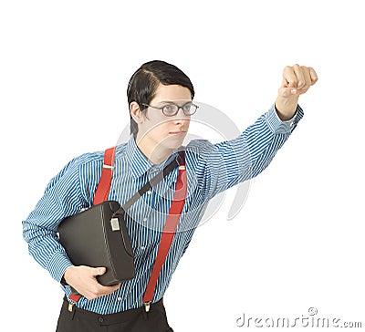 Nerd businessman superhero