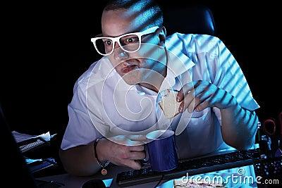 Nerd and computer