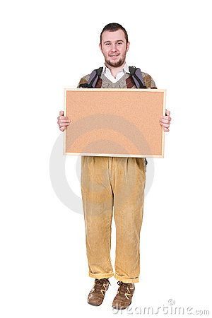 Nerd with corkboard