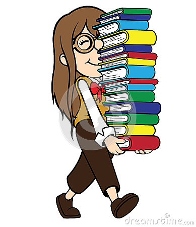 Nerd Girl Carrying Pile Of Books Stock Photo Image 35594910
