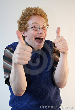 Nerd giving energetic thumbs up