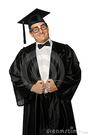 Nerd Graduate With Gown And Mortarboard Royalty Free Stock Photos ...