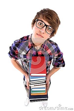 Nerd holding books