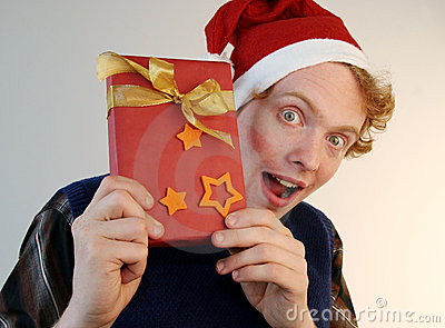 Nerd holding xmas present