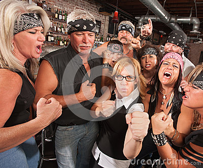 Nerd Holds Up Fists with Gang in Bar
