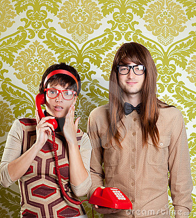 Nerd humor couple talking vintage red phone