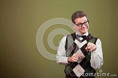 Nerd Man Pointing Index Finger