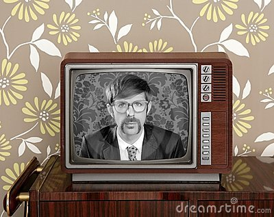 Nerd retro 60s vintage wooden tv presenter