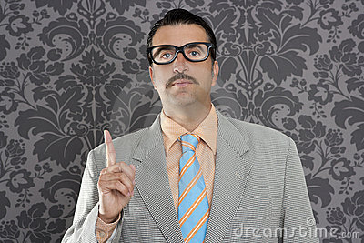 Nerd retro businessman raising finger up