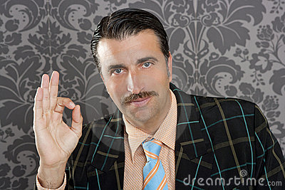Nerd retro man businessman ok hand gesture