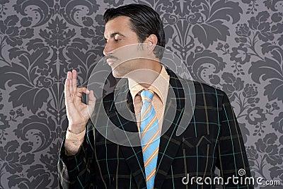 Nerd retro man businessman ok positive