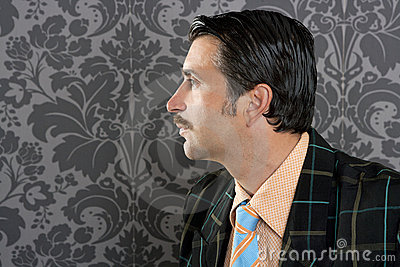 Nerd retro vintage businessman profile portrait