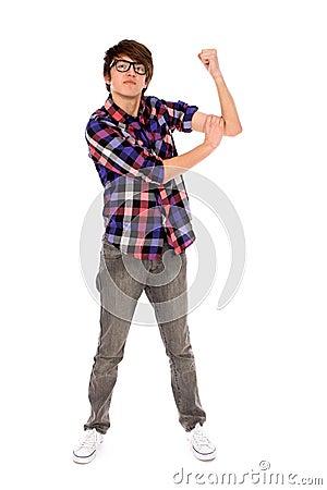 Nerd showing biceps