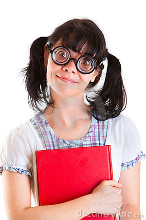 Nerd Student Girl with Textbooks