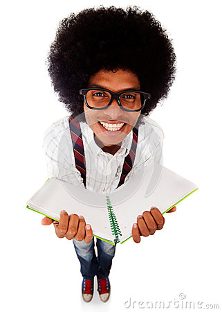 Nerd student with a notebook