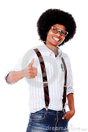 Nerd with thumbs up