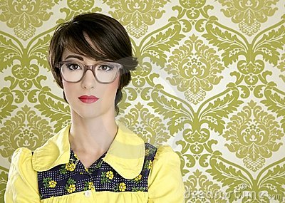 Nerd woman retro portrait 70s vintage housewife