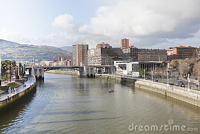 Nervion river of Bilbao, Spain Editorial Image