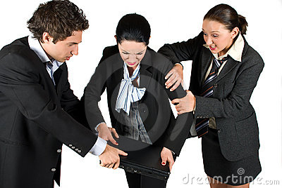 Nervous business people