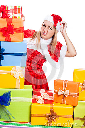 Nervous Christmas woman with presents