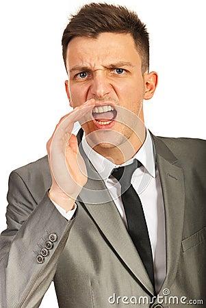 Nervous executive shouting