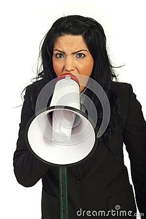 Nervous manager shouting into megaphone