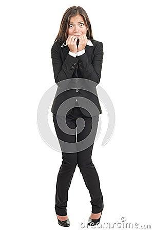 Nervous scared businesswoman