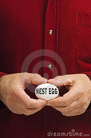 NEST EGG written on egg held by man
