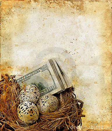 Nest with Money on a Grunge Background