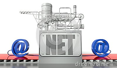 Net concept, e-mail signs and machine