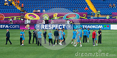 Netherlands national football team tests the pitch Editorial Image