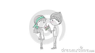 Nette Animationskarikatur-Liebhaberpaare mit Jungen und Mädchen im stilvollen Gekritzel entwerfen im Jahrestagskonzept vektor abbildung