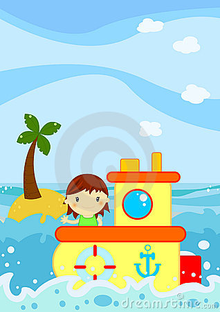 Nette Dichtung des kleinen Mädchens auf einem Boot