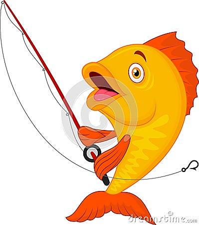 Nette fische die angelrute halten vektor abbildung bild for Fische halten
