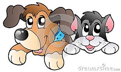 Nette lauernde Haustiere