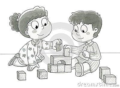 Nette spielende Kinder - bw