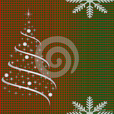 Netted background with christmas tree