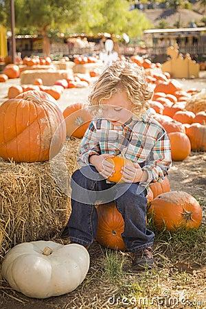 Netter Junge, der seinen Kürbis am Kürbis-Flecken sitzt und hält