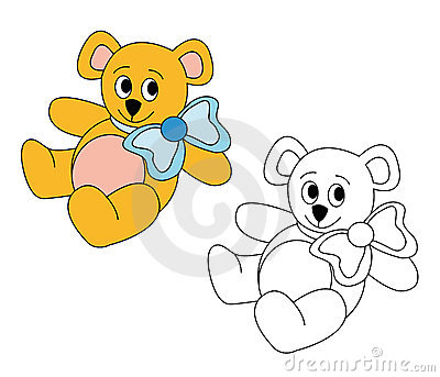 Netter Teddybär mit blauem Bogen