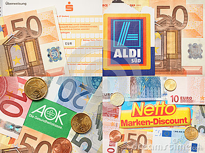 Netto, Sparkasse, Aldi and AOK money Editorial Image