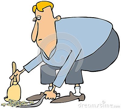 Nettoyage d homme avec une pelle à poussière et un balai