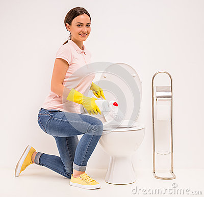 nettoyage de la toilette photo stock image 58001125. Black Bedroom Furniture Sets. Home Design Ideas