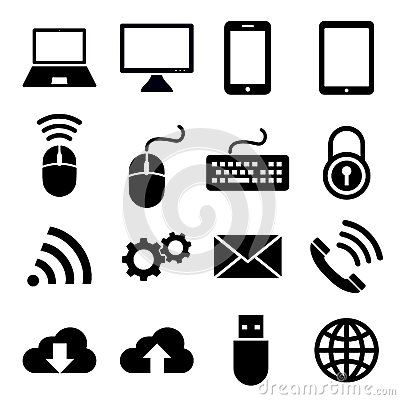 Free Network And Mobile Devices Icons Royalty Free Stock Photos - 57536148