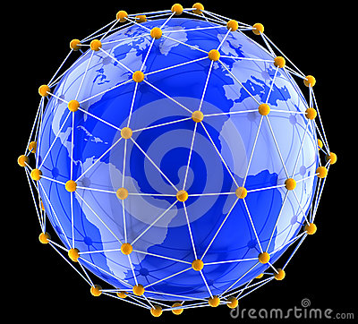 Network on globe