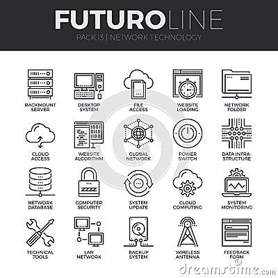 Free Network Technology Futuro Line Icons Set Stock Images - 62806704